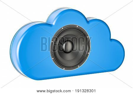 Cloud music concept with loudspeaker 3D rendering isolated on white background