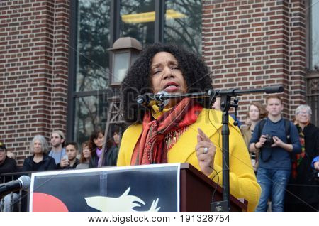 ANN ARBOR MI - JAN 21: Detroit poet and activist Michelle Elizabeth Brown addresses the Women's March in Ann Arbor on January 21 2017.
