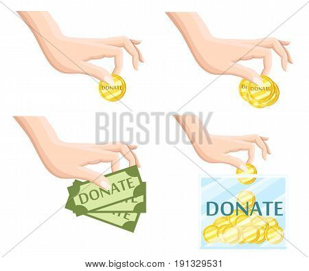 Donate Help Symbols Charity Organization Flat Icons Set Of Food And Donation Hand Abstract Isolated