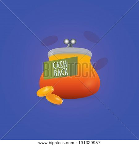 Cash Back Sign: retro purse or wallet and two gold coins. Vector illustration is great as cashback icon, money refund guarantee or offer symbol or card, etc.