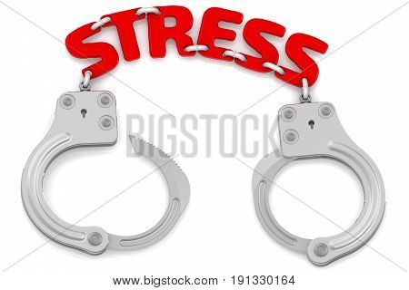 Stress as a limiter of freedom. Steel handcuffs with red word
