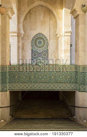 Grande Mosque Hassan II architectural detail in Casablanca Morocco.