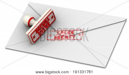 Sales secret. Seal and closed postal envelope. Red seal and imprint