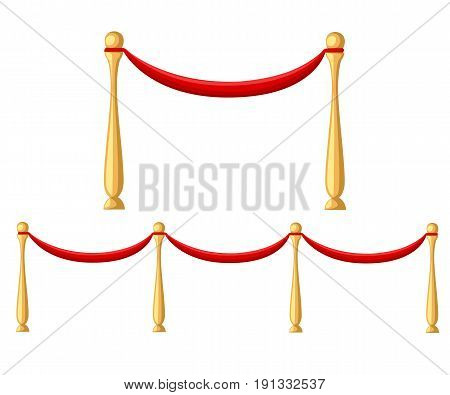 Red Carpet Ceremonial Vip Event Or Head Of State Visit Realistic Image With Gold Barriers Vector Ill