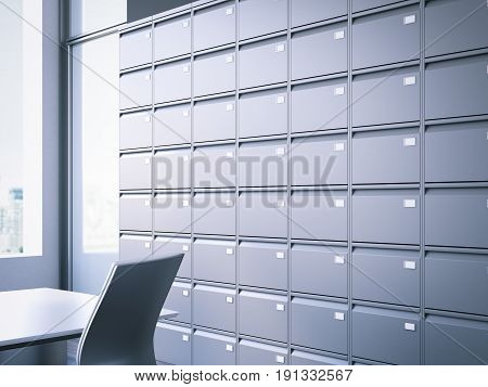Closed filing cabinet in modern office interior. 3d rendering