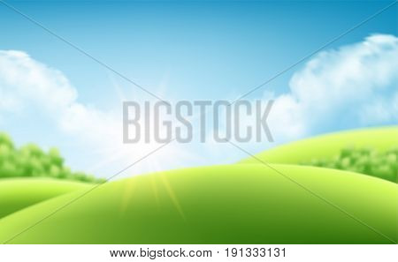 Summer nature sunrise background, a landscape with green hills and meadows, blue sky and clouds. Vector millustration EPS10