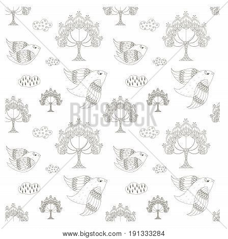 Seamless trees, birds, clouds monochrome pattern stock vector illustration