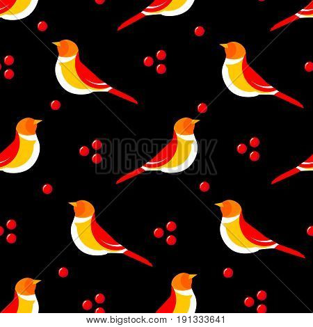 Seamless pattern with abstract bird and berries on black background. Vector illustration.