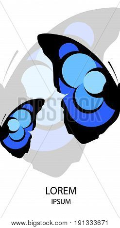Placard with abstract icon of a butterfly and sample text. Vector.