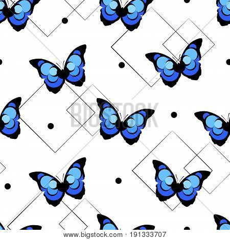 Seamless pattern with abstract butterfly and geometric shapes on white background. Vector.