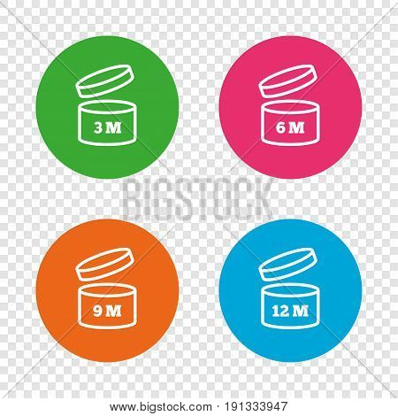 After opening use icons. Expiration date 6-12 months of product signs symbols. Shelf life of grocery item. Round buttons on transparent background. Vector