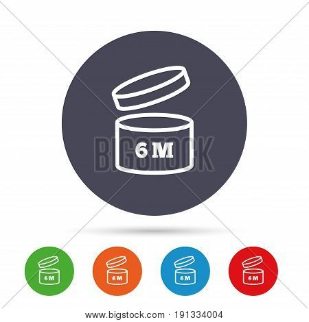 After opening use 6 months sign icon. Expiration date. Round colourful buttons with flat icons. Vector