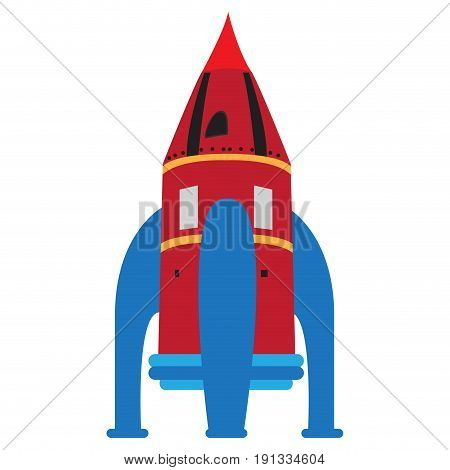 Isolated rocket toy on a white background, Vector illustration
