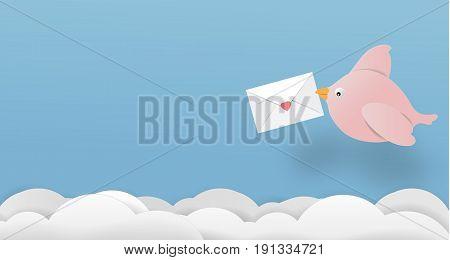 love bird letter paper art copy space vector paper cut cute illustration