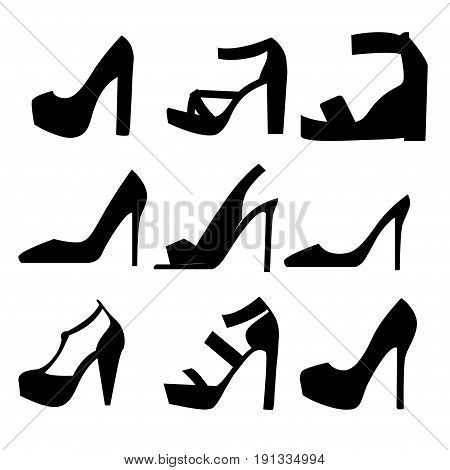 Set With Different Types Of Women's Shoes Silhouette. Collection Of Autumn, Winter And Spring Women
