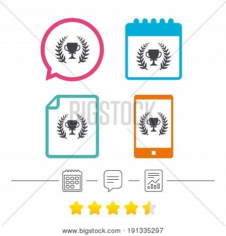 First place cup award sign icon. Prize for winner symbol. Laurel Wreath. Calendar, chat speech bubble and report linear icons. Star vote ranking. Vector