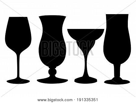 Set Of Glasses Goblets, Vector Icon Empty Inside Glass Of A Different Form For Cocktails Of Juice