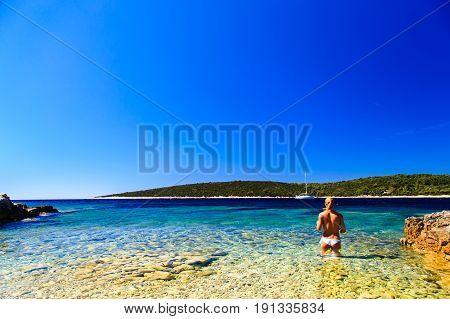 Girl At The Sea In Croatia