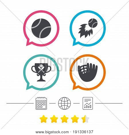 Baseball sport icons. Ball with glove and two crosswise bats signs. Fireball with award cup symbol. Calendar, internet globe and report linear icons. Star vote ranking. Vector