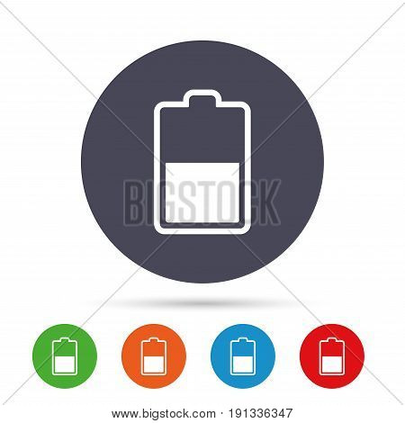 Battery half level sign icon. Low electricity symbol. Round colourful buttons with flat icons. Vector