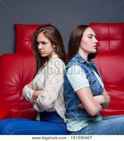 Women quarrel,two quarreling girlfriends