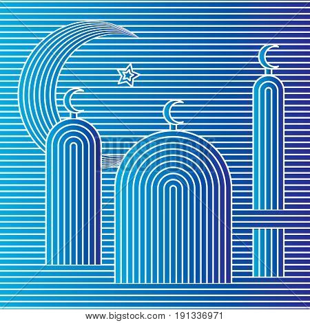 Vector op art mosque silhouettes. Optical illusion abstract illustration.