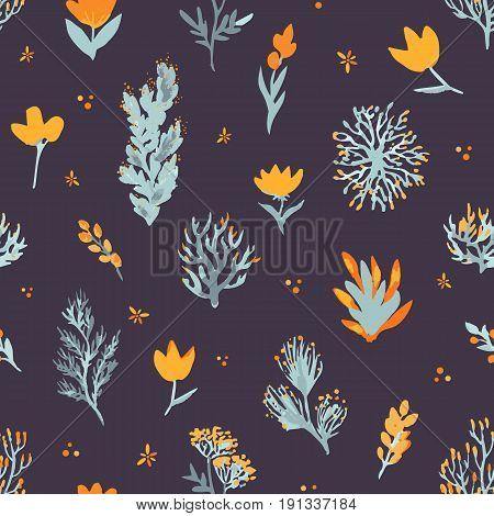 Floral vector seamless pattern. Wildflowers and plants on dark background. The elegant template for fashion prints, backdrop, wrap etc.