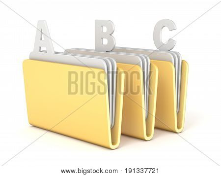 Three Computer Folder With Abc Files 3D