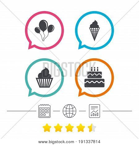 Birthday party icons. Cake with ice cream signs. Air balloons with rope symbol. Calendar, internet globe and report linear icons. Star vote ranking. Vector