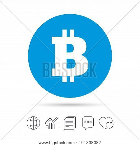 Bitcoin sign icon. Cryptography currency symbol. P2P. Copy files, chat speech bubble and chart web icons. Vector