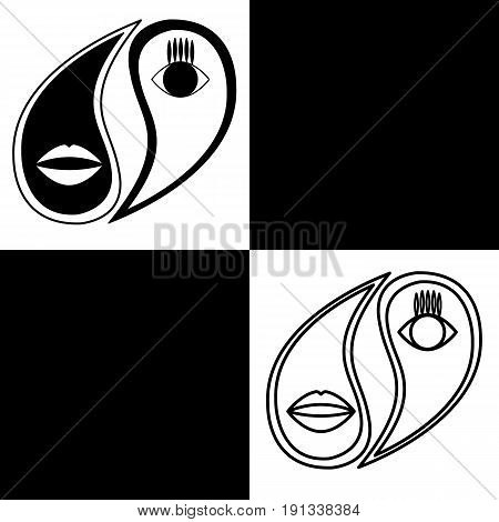 Yin Yang. Vector logo in the shape of yin-yang with a stylized image of the eyes and lips. Black and white