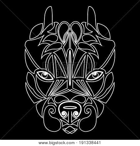 Pitbull. Dog head, totemic animal. A talisman, a predator tattoo, a dangerous dog. Printing on clothes, fabrics. Design element emblem poster