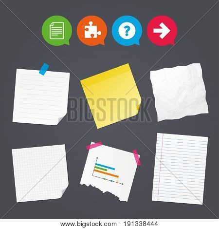 Business paper banners with notes. Question mark and puzzle piece icons. Document file and next arrow sign symbols. Sticky colorful tape. Speech bubbles with icons. Vector