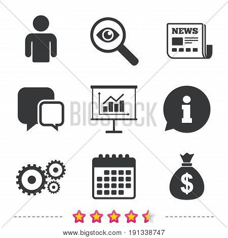 Business icons. Human silhouette and presentation board with charts signs. Dollar money bag and gear symbols. Newspaper, information and calendar icons. Investigate magnifier, chat symbol. Vector