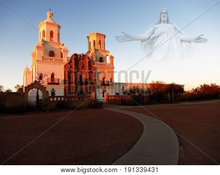 San Xavier mission in Tucson Arizona christian church with cross