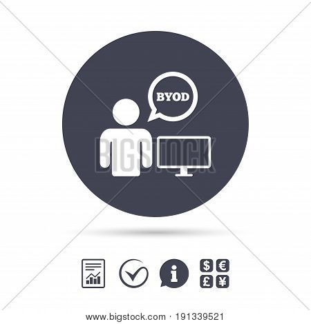 BYOD sign icon. Bring your own device symbol. User with monitor and speech bubble. Report document, information and check tick icons. Currency exchange. Vector