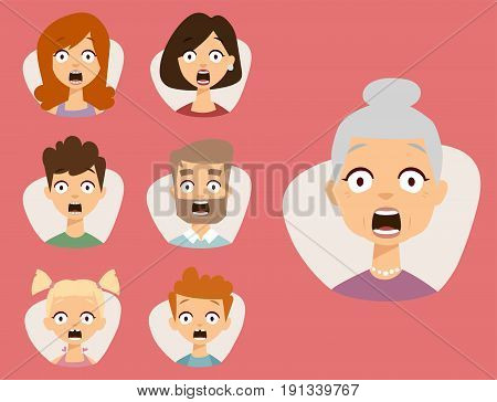 Vector set beautiful emoticons face of people fear shock surprise avatars. Set of cartoon human head person character different sexes sadness confused depression.
