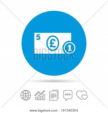 Cash sign icon. Pound Money symbol. GBP Coin and paper money. Copy files, chat speech bubble and chart web icons. Vector