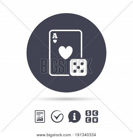 Casino sign icon. Playing card with dice symbol. Report document, information and check tick icons. Currency exchange. Vector