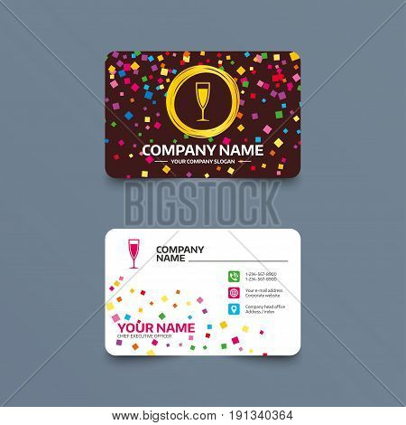 Business card template with confetti pieces. Glass of champagne sign icon. Sparkling wine. Celebration or banquet alcohol drink symbol. Phone, web and location icons. Visiting card  Vector