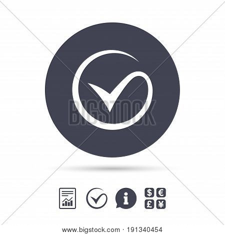 Tick sign icon. Check mark symbol. Report document, information and check tick icons. Currency exchange. Vector