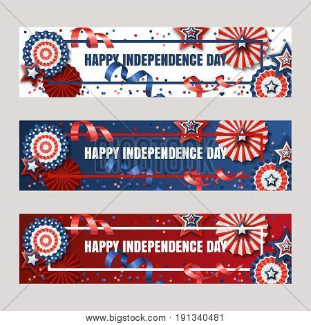 Happy 4Th Of July, Usa Independence Day. Vector Banners With Paper Stars In Usa Flag Colors. Holiday