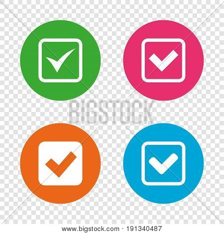 Check icons. Checkbox confirm squares sign symbols. Round buttons on transparent background. Vector