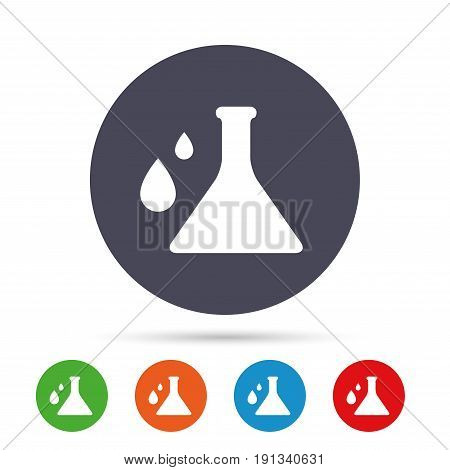 Chemistry sign icon. Bulb symbol with drops. Lab icon. Round colourful buttons with flat icons. Vector