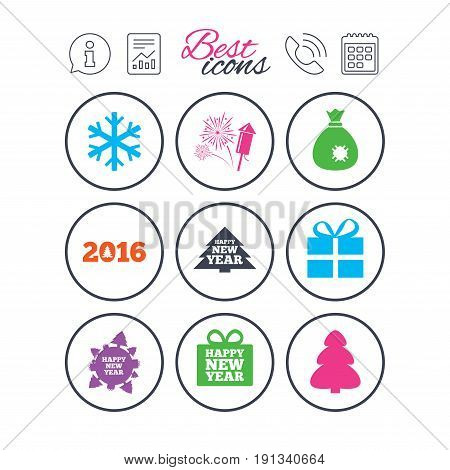 Information, report and calendar signs. Christmas, new year icons. Gift box, fireworks and snowflake signs. Santa bag, salut and rocket symbols. Phone call symbol. Classic simple flat web icons