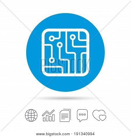 Circuit board sign icon. Technology scheme square symbol. Copy files, chat speech bubble and chart web icons. Vector