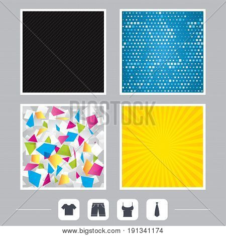 Carbon fiber texture. Yellow flare and abstract backgrounds. Clothes icons. T-shirt and bermuda shorts signs. Business tie symbol. Flat design web icons. Vector