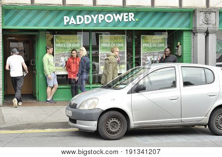 Prospect Hill, Galway, Ireland June 2017, Paddy Power Betting House, Man With Sportive Clothes Enter