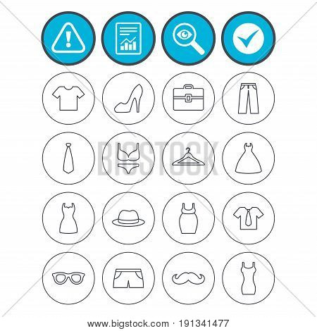 Report, check tick and attention signs. Clothes and accessories icons. Shirt with tie, pants and woman dress symbols. Hat, hanger and glasses thin outline signs. Underwear and maternity clothes