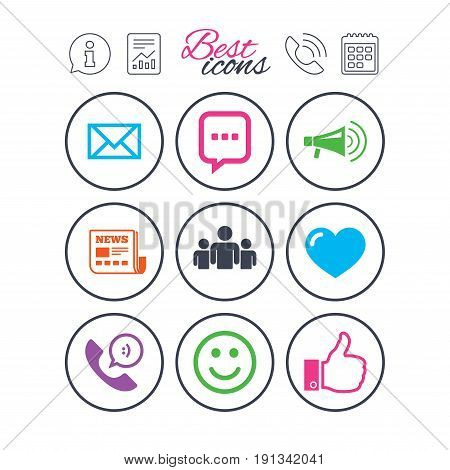Information, report and calendar signs. Mail, news icons. Conference, like and group signs. E-mail, chat message and phone call symbols. Phone call symbol. Classic simple flat web icons. Vector